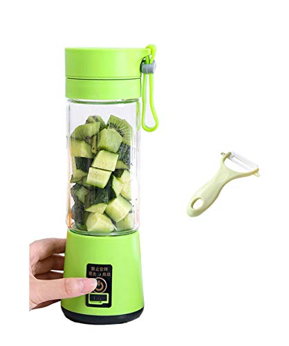 Durable Smoothie Maker,Mini Portable Blender, Juice Blender with Bottle USB Rechargeable Multifunctional Juicer Baby Food Blender, FBA Certified,Fruit Travel Blender Ice Crusher, 380ML 6 Blades (Green)