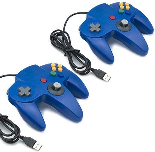 QUMOX 2X Nintendo Mandos de Juegos Clásicos 64 N64 USB para USB A PC Mac, Azul