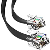 RJ11 Cable Phone Cord for Landline & Telephone Cord for RJ11 to RJ11 Devices – Smooth, Clear Connections & Optimum Quality – Durable Phone Cable with 4 Gold-Plated Contact Pins (Black, 15ft) by G-PLUG