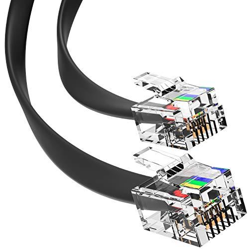 G-PLUG Cavo Telefonico per Dispositivi RJ11-RJ11 - Cavo RJ11 per Connessioni Chiare e di Qualità – Robusto Cavo Telefono e Cavo Internet a 4 Poli Placcati in Oro (Nero, 2m)