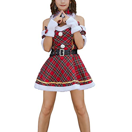 Sexy Christmas Costume Queen Plaid Christmas Outfit (Christmas Hat + Collar + Gloves + Dress + Belt)