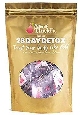 Natural ThickFit 28 Day Detox Tea: Shrink Belly Fat While Shaping Your Curves Cleanse w/ 14-All Superfoods Slimming Weight Loss Herbs & Fruits. Eliminate Toxins, Bloating, Boost Energy & Immune System from Natural Thickfit
