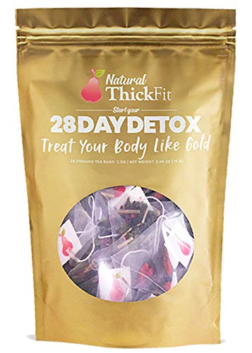 Natural ThickFit 28 Day Detox Tea: Shrink Belly Fat While Shaping Your Curves Cleanse w/ 14-All Superfoods Slimming Weight Loss Herbs & Fruits. Eliminate Toxins, Bloating, Boost Energy & Immune System