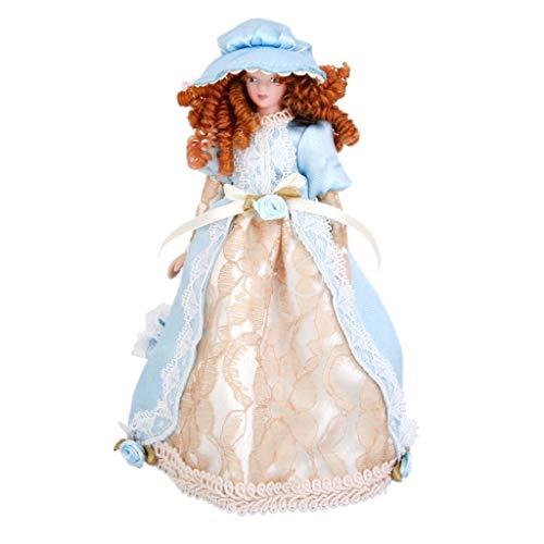 Ogquaton Puppenhaus Miniatur Porzellan süße Puppen viktorianische Dame im Kleid Hut Stehen so tun, als Spielen Klassische Puppen hoher Qualität
