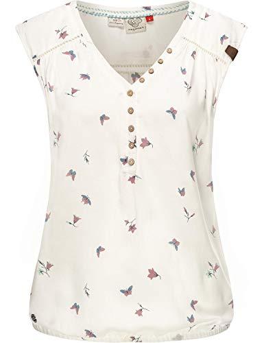 Ragwear Damen Kurzärmelige Bluse Printshirt Blusentop Sommerbluse Salty A Weiß Gr. M
