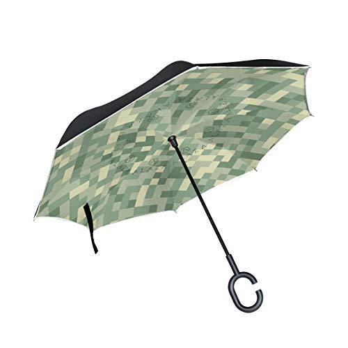 MNSRUU Umkehrbare Regenschirme Camouflage Mosaik Doppelschichtiger Faltbarer Regenschirm Winddicht Anti-UV Winddicht Reise-Regenschirm für Damen und Herren