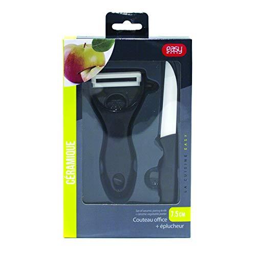 Easy Make KD3118 Couteau avec Eplucheur, ABS/Céramique, Noir/Blanc, 12,5 x 7,6 x 1,8 cm