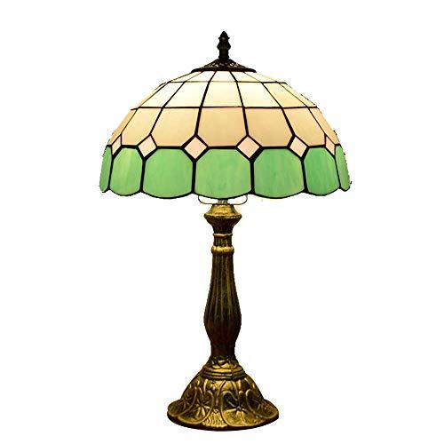 Tiffany Lámpara de mesa mediterránea estilo verde vidrio pintura escritorio lámparas vintage hecha a mano lámpara de noche lámpara de noche para dormitorio lectura librería iluminación 12 pulgadas