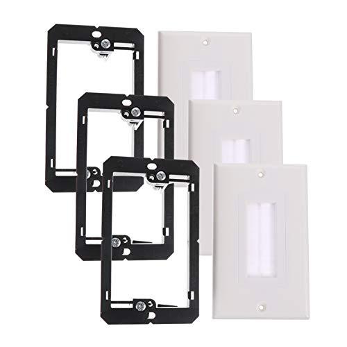 TEHAUX 3-Teilige Einzelbürsten-Wandplatten mit 3-Teiligem Single-Gang-Niederspannungshalterungskabel Führen durch Den Einsatz für HDTV-Heimkinosysteme