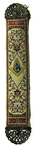 Square & Compass Beige Tapestry Masonic Bookmark - [9'' x 2'']