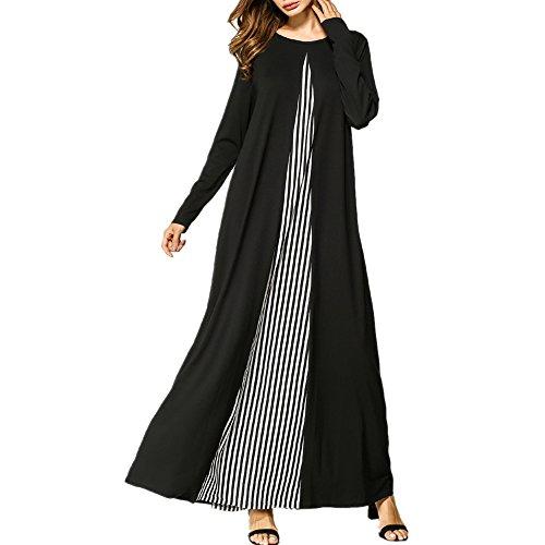 zhxinashu Damen Elegante Muslimischen Kaftan Kleid, Locker Gestrickten Streifen Voller Länge Abaya Islamische Kleidung,Schwarz,M