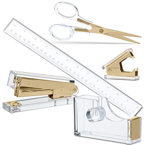 Gold Acrylic Lucite Bundle | Premium Stapler, Tape Dispenser, Scissors, Staple Remover, & Ruler | Clear Stationery & Desk Accessories for Everyday Office Needs | Modern, High End, Chic, Luxury Goods