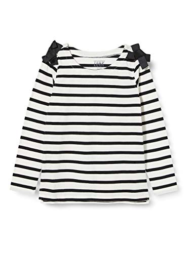 Look by Crewcut - Camiseta de manga 3/4 con lazos en los hombros para niña, Negro/ blanco a rayas, 8