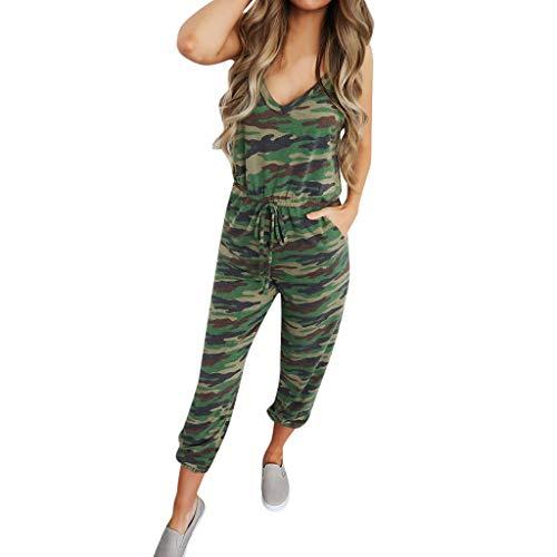 feiXIANG Damen Jumpsuit Camouflage Einteiler Sport Hosen mit V-Ausschnitt Ärmellos Lange Latzhose (Grün,S)