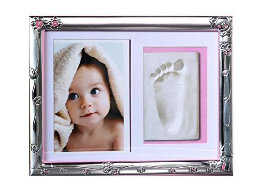 Viceree | Cornice Impronte Neonato | Kit Impronte neonato | Portafoto Impronte | Regalo Nascita | regalo maternità | Cornice in Argento 999 | Rosa-azzurro