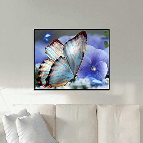 Diamant-schilderij 5D knutselen diamant vlinder liefde bloem 50 x 40 cm kristal borduurwerk strass schilderwerk deeg mozaïek gereedschapsset