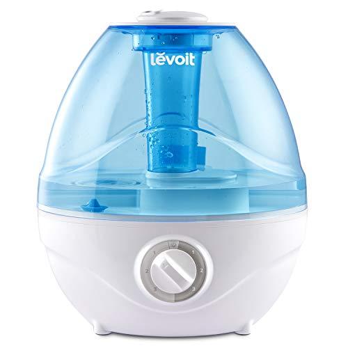 LEVOIT Luftbefeuchter Ultraschall Schlafzimmer, Raumbefeuchter für Babys Kinder mit blauem Nachtlicht, Humidifier mit AC Adapter 3 Nebelstufen bis zu 27m², Auto-off, Betriebszeit bis zu 24 Stunden
