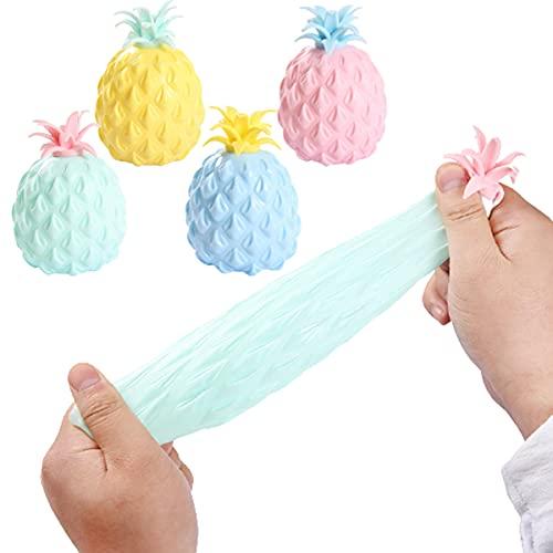 4 bolas de alivio del estrés para adultos, ansiedad, juguetes sensoriales para el autismo, regalo del día de los niños, bola de ventilación con forma de piña