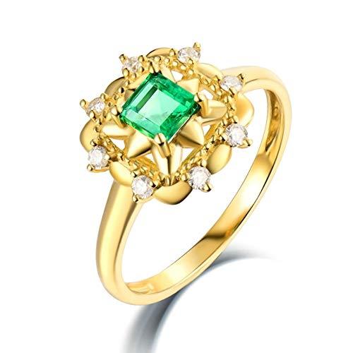 Beydodo Anillos Mujer Compromiso,Anillo de Mujer Oro Amarillo 18K Oro Verde Cuadrado Esmeralda Verde 0.36ct Diamante 0.15ct Talla 8(Circuferencia 48MM)