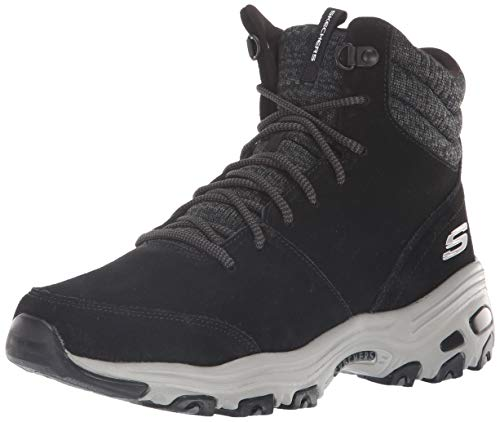 Skechers D'lites - Chill Flurry, Damen Kurzschaft Stiefel, Schwarz (Black Suede/Knit Blk), 41 EU (8 UK)