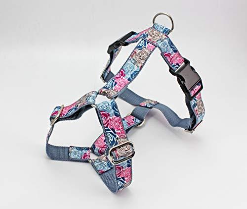Hundegeschirr mit abstrakten Blumen in rosa, blau und braun, Gurtband in grau, Brustgeschirr für Hunde