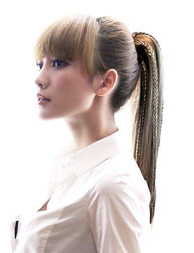 ahom (perruque Noble de haute qualité synthétique longue ligne droite queue de cheval avec tresse
