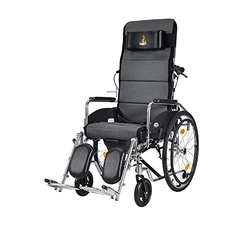 FMOGG Silla, Sillas De Ruedas Plegables - Médico Portátil con Respaldo Ajustable 180 - Asiento - Cómoda De Escritorio Desmontable para Ancianos;Discapacitado Cómodo