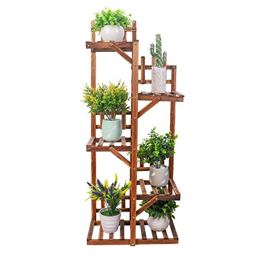 Medla Estantería para Macetas, Soporte de Madera para Flores con Valla, Estante Plantas con 5 Niveles, para Jardín Exterior Interior Terraza, 55 x 27 x 132cm