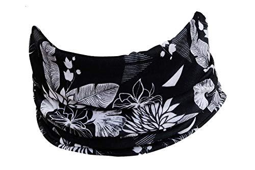 Hilltop Multifunktionstuch. Cooles und warmes Kopf- und Halstuch in modernen aktuellen Farben, Farbe/Design:schwarz weiss
