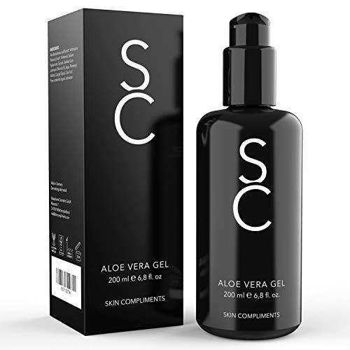 SKIN COMPLIMENTS Bio Aloe Vera Gel – Natürliche Feuchtigkeitspflege & After Sun mit Hyaluronsäure, Panthenol, Spirulina – Violettglasflasche 200ml – Natürliche Kosmetik