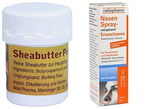 10x Nasenspray ratiopharm Erwachsene 15 ml und 1x Sheabutter pur Bio 20g - Sparset