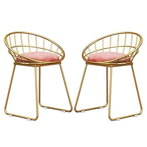 WYBW Silla de comedor para el hogar, sillas de comedor modernas, sillones retro, metal resistente, fácil carga, 100 kg, asientos tapizados para adultos, silla de ocio,C