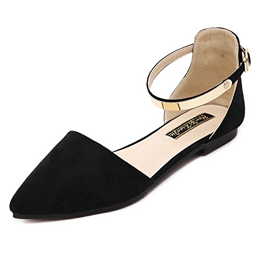Meeshine Womens D'Orsay Pointy Toe Ankle Strap Buckle Comfort Ballerina Ballet Flats Shoes (10 B(M) US, Black)