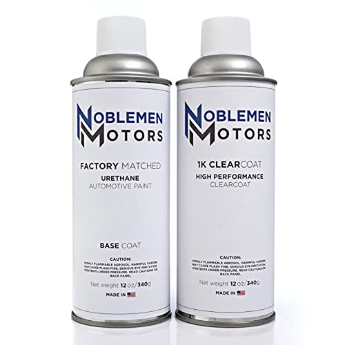 Noblemen Motors Exact Match Automotive Touch Up Paint Kit Compatible with Chevrolet 130X/WA130X/G7C/GG2/GG7/WA498B Pull Me Over Red OEM Spray Paint - 12oz Basecoat and 1K Clearcoat