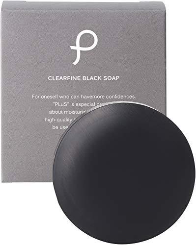 プリュ (PLuS) クリアファイン ブラックソープ ( 90g / 固形タイプ / オレンジの香り ) 洗顔石けん 洗顔料 炭 シルク 黒ずみ 毛穴ケア ( 日本製 )