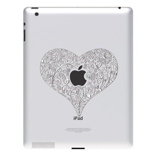 Ozaki iCoat Relief moderne aluminium-achtig hart sticker voor Apple iPad 1/2/3/4/Air/Air 2