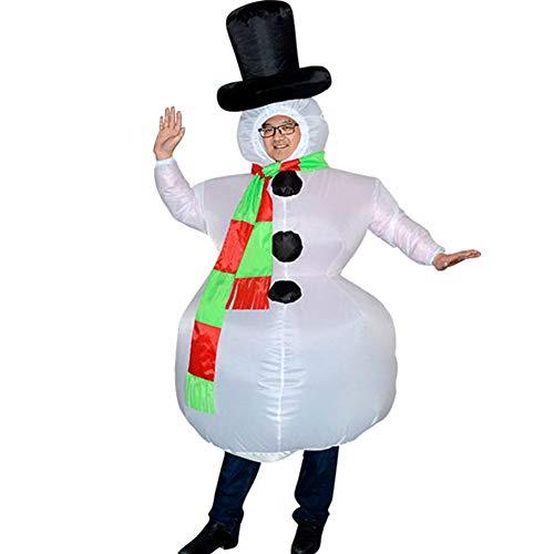 JsJr-K-In Weihnachtskostüme für Herren/Damen, Damen/Herren/Erwachsene, Weihnachtskostüme, Frosty der Schneemann-Kostüm, aufblasbarer Schneemann, Kostüm für Erwachsene, Halloween, Cosplay, Party