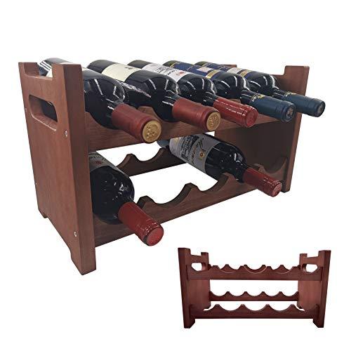 Yonor Stackable Rustic Brown 10-Bottles Wine Rack,...