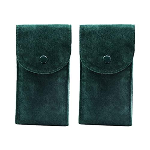 ポーチ、2ピースの緑の亜鉛letteの布腕時計のブレスレット収納袋耐久旅行ポーチケース