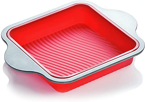 Silicone Brownie Pan. Professional Non-Stick Square 8' Silicone Cake Pan for Baking by Boxiki Kitchen. Best Non-Stick Oven Dish Bakeware with Steel Frame.