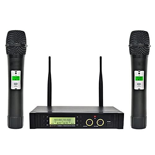 zlw-shop UHF Sistema de micrófono inalámbrico de 2 vías de 100 Canales. IR Frecuencia de micrófono inalámbrico Karoke KTV Micrófono dinámico cardioide de Fiesta (Color : EU Plug)