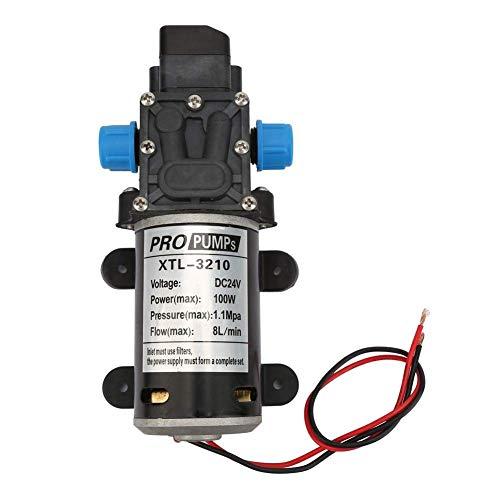 MOZUSA Bomba de Agua eléctrica, Bomba de Agua eléctrica de 24V / 100W 8L / M Bomba de diafragma autocriminar con Interruptor de presión for Lavadora Instrumentos