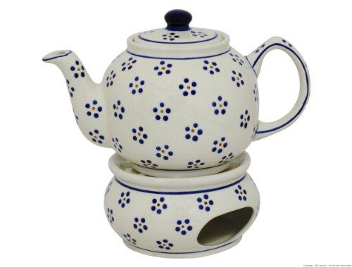 Original Bunzlauer Keramik Teekanne mit Stövchen 1.00 Liter im Dekor 1