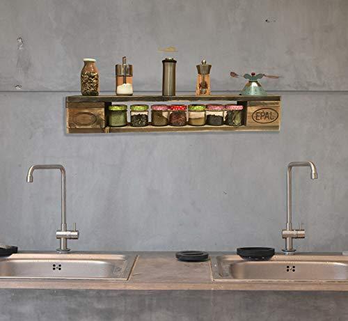 Palettenmöbel: Wandregal, Küchenregal, Gewürzregal KEOKEA aus zertifiziertem Europalettenholz, jedes Teil ist einzigartig und Wird in Deutschland in Handarbeit gefertigt - 3