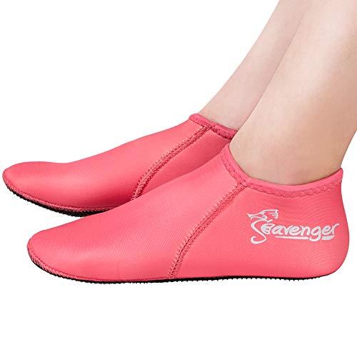 Seavenger Zephyr 3mm Neoprene Socks | Wetsuit Booties for Scuba Diving, Snorkeling, Swimming (Pink, Small)