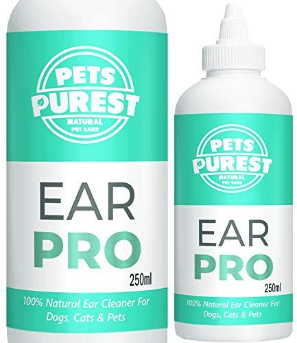 Pets Purest Oorreiniger voor honden wassen (250 ml) Stop met jeuk, hoofdschudden en geur - Anti virale anti schimmelmijt afstotende formule - Aanbevolen door Britse dierenartsen Made in the UK - 100% natuurlijke wreedheid gratis