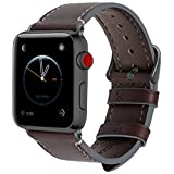 Fullmosa Compatibile Cinturino per Apple Watch 38mm/40mm e 42mm/44mm, 8 Colori Wax Cinturino per iwatch Pelle, per Apple Watch Series 5,4,3,2,1, Uomo e Donna, 42mm/44mm caffè + Fibbia Grigia fumé