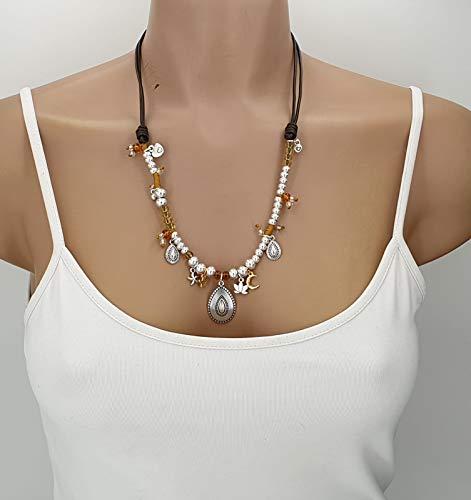 collar boho, collar zamak, collar de cuero, collar estilo uno de 50, choker mujer