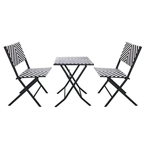 BIANGEY Conjunto de Muebles de jardín Plegable, Conjunto de bistró 3 Piezas, 2 sillas de ratán y 1 Mesa de ratán, para Jardines, terrazas, Playas, Villas