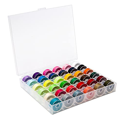 BetyBedy 36Pcs Bobbins and Sewing Threads with Bobbin Case for Multiple Sewing...